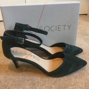 Sole Society 8M Low Suede Heels NIB Ayla D'Orsay